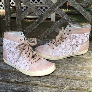 (Free People) High Top Lace Sneakers